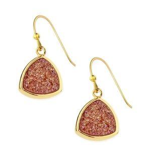 SAACHI Triangle Dangle Druzy Earring Rose Gold